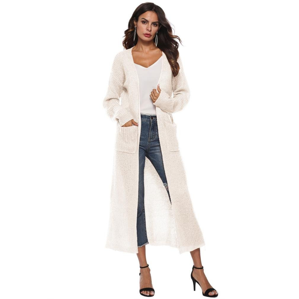 Women Long Sleeve Open Cape Casual Loose Knitted Sweater Coat Blouse Kimono Jacket Cardigan (XL, Beige)