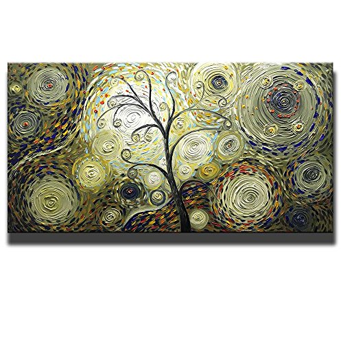 Tree Artwork (Asdam Art - Vintage Hand Painted 3D Paintings On Canvas Tree Artwork Abstract Wall Art For Living Room Bedroom Dinningroom Pictures Gold Brwon (24x48inch))