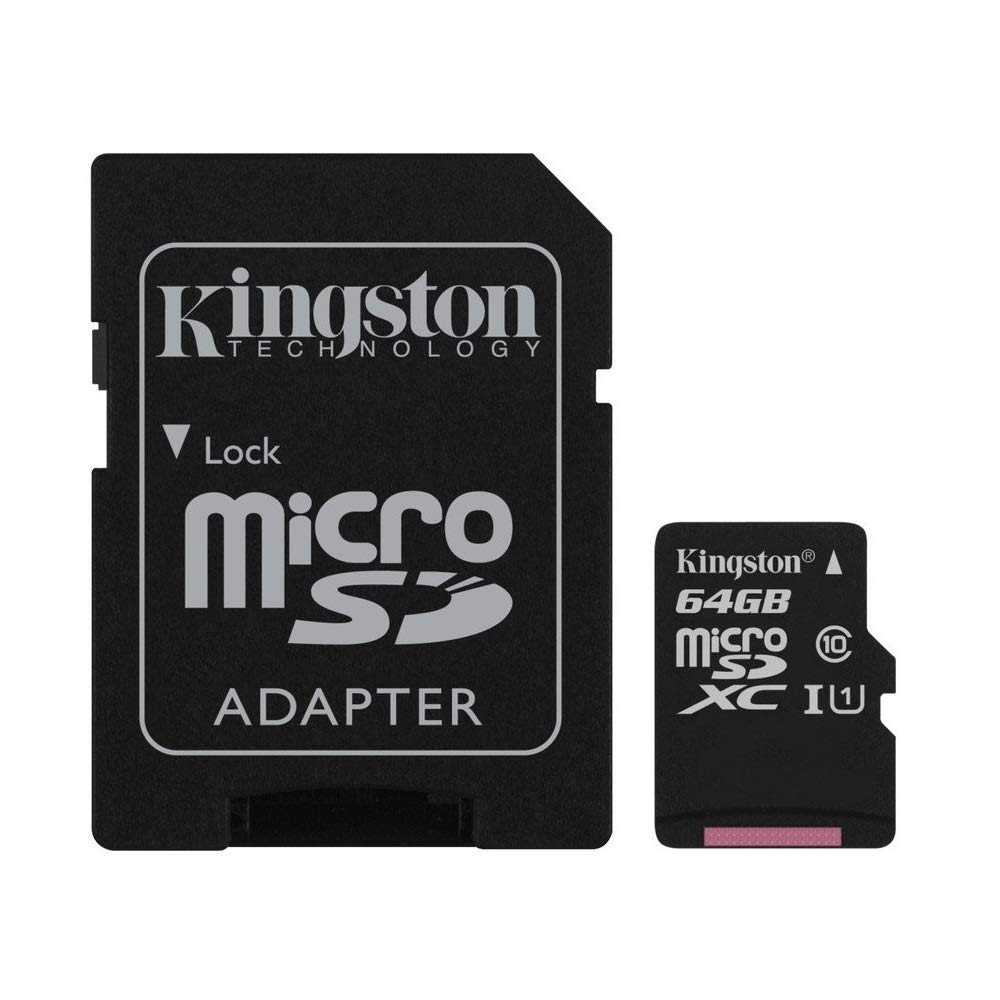 Kingston Canvas Select 64GB microSDHC Class 10 microSD Memory Card UHS-I 80MB/s R Flash Memory Card with Adapter (SDCS/64GB)