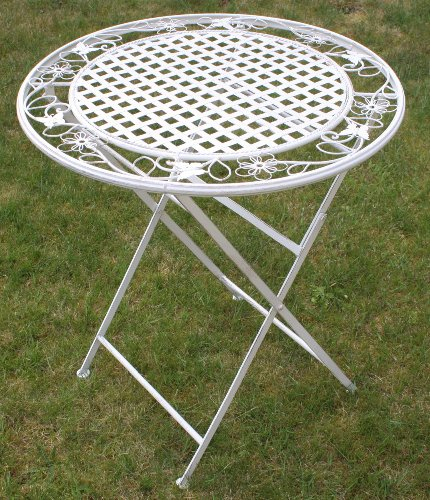 Maribelle White Round Metal Floral Designed Folding Outdoor Garden Patio Dining Table