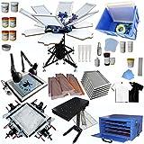 Techtongda 6 Color Full Set Screen Printing Kit 6 Color 6 Station Screen Printing Machine Screen Platen Rotating Screen…