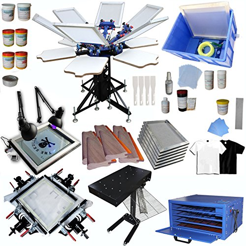 Techtongda 6 Color Full Set Screen Printing Kit 6 Color 6 Station Screen Printing Machine Screen Platen Rotating Screen Printing Press