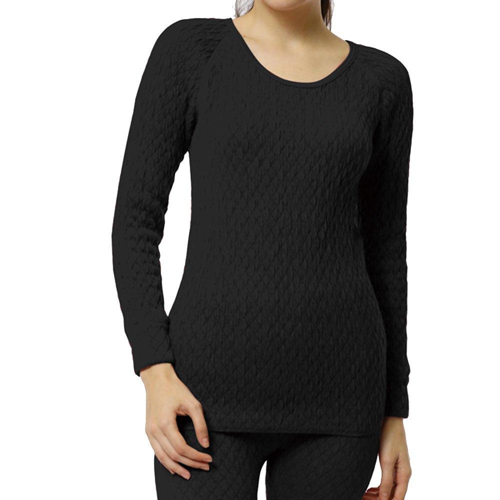 [新商品]ひだまり本舗 [婦人用]長袖丸首シャツ ひだまり エベレスト[3重袖シリーズ] B01LXZ9Y1M Large|ブラック ブラック Large