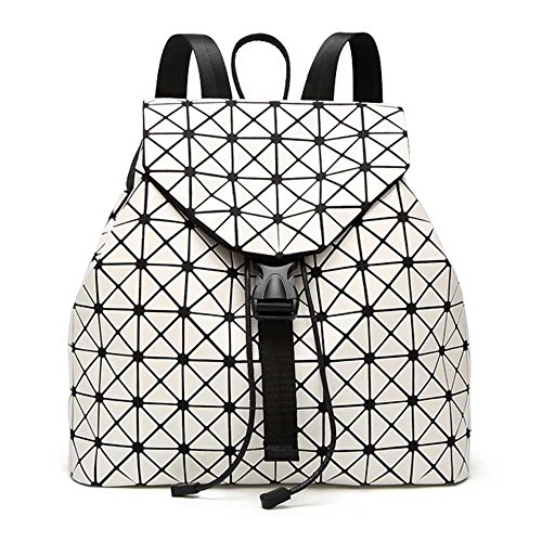 DIOMO Geometric Lingge Laser Women Backpack Travel Shoulder Bag Satchel Rucksack (Beige)
