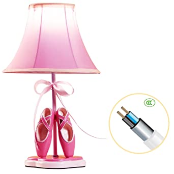 Delightful Kids Table Lamp,YIIYAA Fantasy Princess Pink Ballet Shoes Warm White LED  Bedside Lamps With