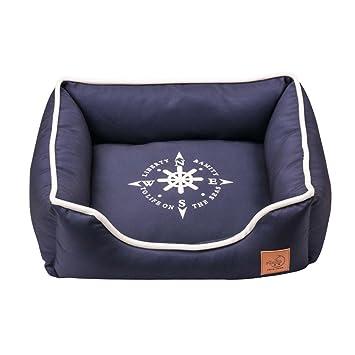 Cama para dormir para perros Alfombra para mascotas lavable con almohadilla antideslizante y terciopelo suave para mascotas Azul (Size : S45*38 * 18cm): ...