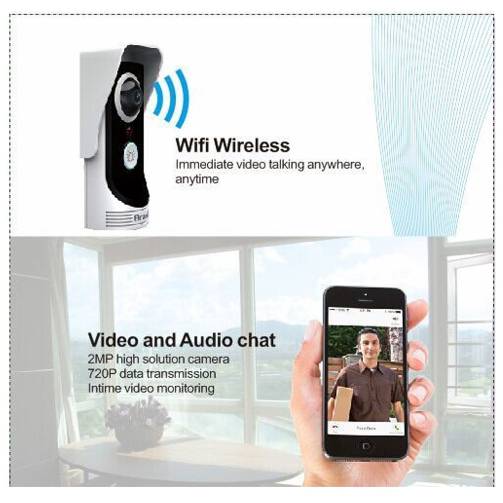 KKmoon WIFi Enabled Video Door Phone Intercom, 2.0 Megapixel Peephole  Viewer Camera With Night Vision Motion Detection For Home Security      Amazon.com