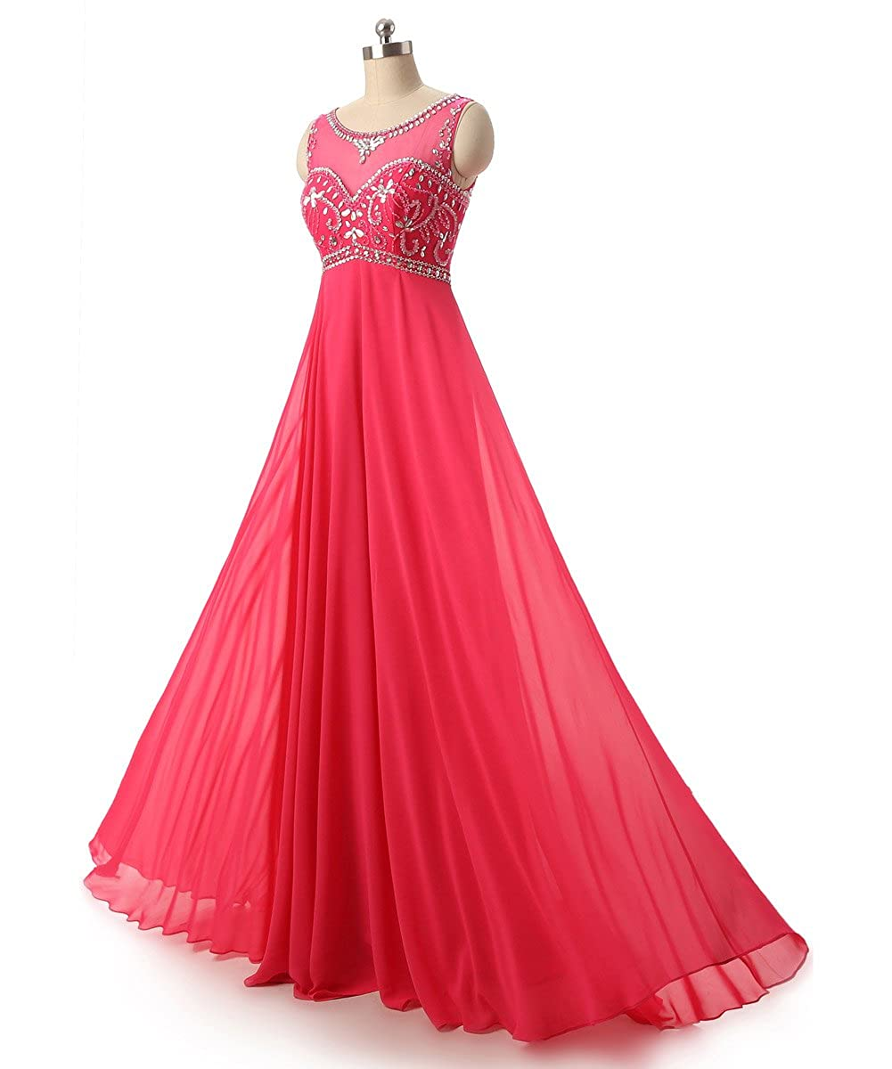 39f627934787 Amazon.com: Callmelady Sheer Neck Beading Chiffon Long Prom Dresses Evening  Gowns: Clothing