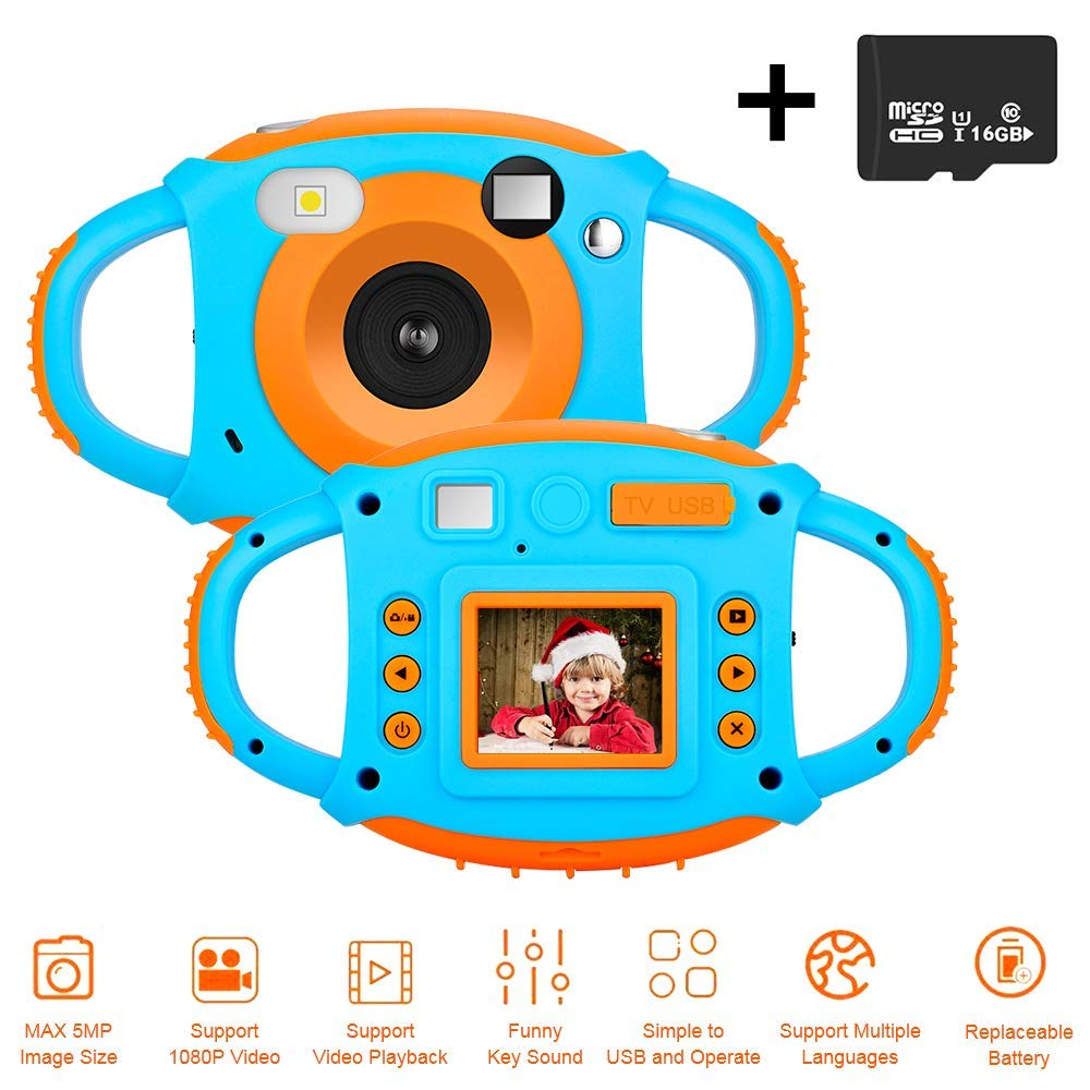Kids Camera DIWUER Shockproof Digital Camera Children Creative Gift Mini Video Camcorder for Boys Girls with Soft Silicone Shell Mic Flash and 16GB Memory Card