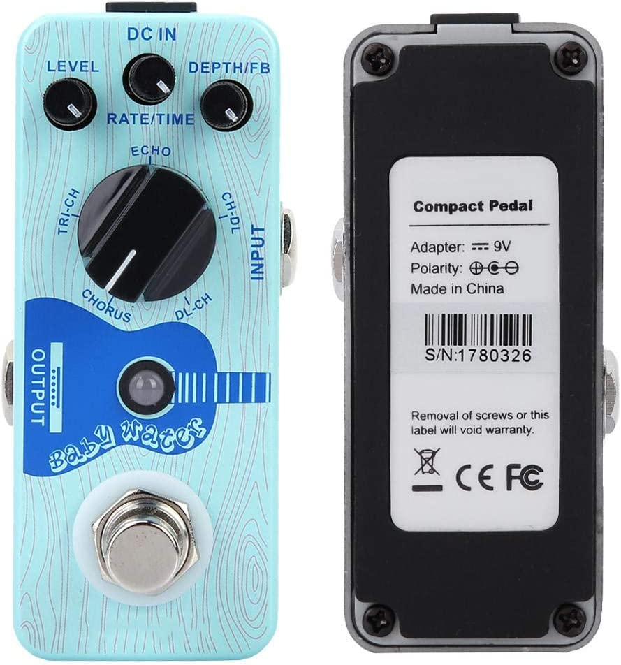 Dilwe Pedal de Retardo de Efecto de Guitarra, Mini Efecto único Compatible para Coro de Guitarra Eléctrica Tri-CHI Echo CH-DL DL-CH