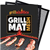 Grillaholics BBQ Mesh Grill Mat - Set of 2 Grill Mats Non Stick - Nonstick Grilling More Delicious Smoky Flavor - Lifetime Manufacturer Warranty