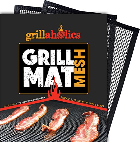 Grillaholics BBQ Mesh Grill Mat – Set of 2 Grill Mats Non Stick – Nonstick Grilling with More Delicious Smoky Flavor – Lifetime Manufacturer Warranty