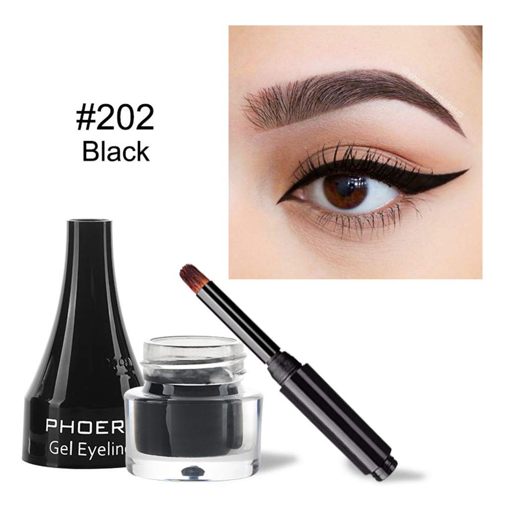 HJuyYuah Black and Brown Lasting Waterproof Cushion Eyeliner Cream Eyeliner Durable Water