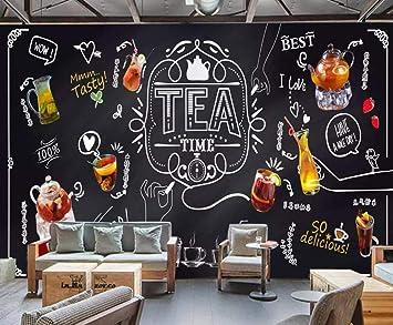 Papel pintado mural pintado a mano tiza pizarra fruta té ocio bar tienda de té café fondo mural de la pared papel pintado 3d-About_200 * 140cm_2_stripes: Amazon.es: Bricolaje y herramientas