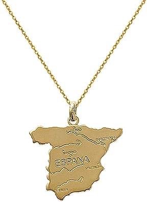Tarjeta colgante España chapado en oro 18 quilates + cadena 45 cm ...