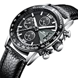 Mens Watches Chronograph Gents Waterproof Sport Date Calendar Luxury Analogue Quartz Black Wrist Watch