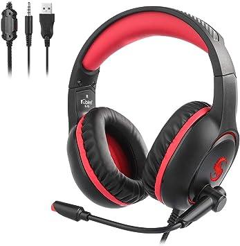 DNACC Auriculares Gaming PS4 Cascos Gaming de Mac Estéreo con Micrófono Audífonos 3.5mm Jack con Luz LED Bass Surround y Cancelación de Ruido Auriculares para PC/Xbox One/Nintendo Switch(Rojo): Amazon.es: Electrónica