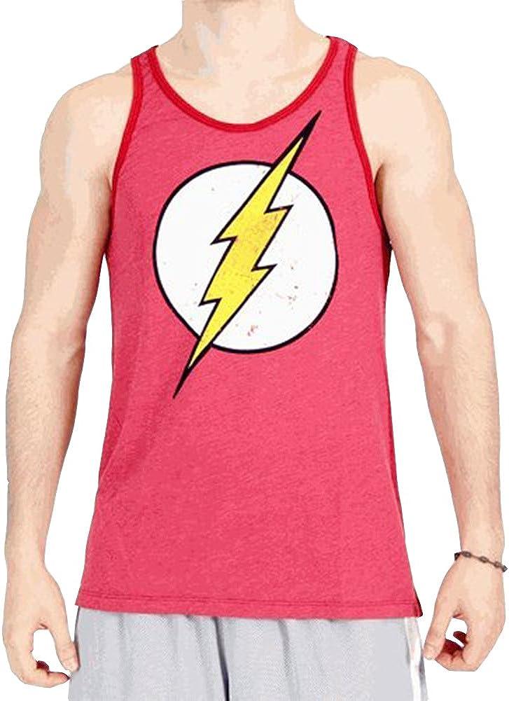 The Flash Distressed Vintage Lightning Bolt Logo Adult Baked Apple Red Tank Top