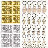 SoulBay 80 Pieces Hair Jewelry Rings Decorations Pendants, Including 50 PCS Aluminum Dreadlocks beads Metal Cuffs + 30 PCS Hair Decorations Rings Clips