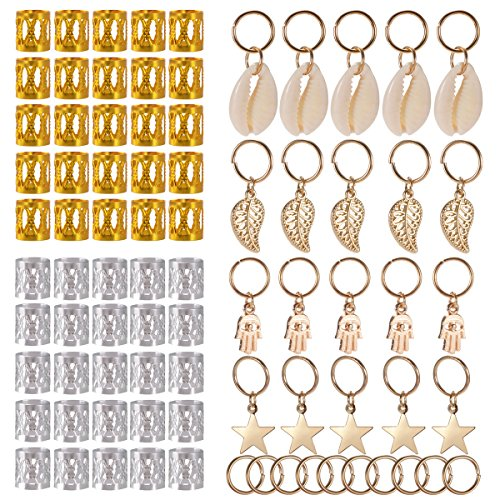 SoulBay 80 Pieces Hair Jewelry Rings Decorations Pendants, Including 50 PCS Aluminum Dreadlocks beads Metal Cuffs + 30 PCS Hair Decorations Rings Clips -