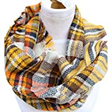 Epic Brand Infinity Scarf Collection for Men and Women | Comfortable Plaid Tartan Cashmere Blanket Circle Winter Scarves (Plaid Beige/Yellow)
