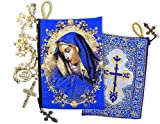 Blue Gold Catholic Icon Saint Mary of Sorrows Rosary Tapestry Pouch Case 5 3/8 Inch