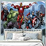 Baccessor Super Hero Tapestry Spider Man, Hulk, Captain America, Black Panther and Iron Man Marvel Fans Favorite American Hero Tapestry for Boy's Bedroom,90' W x 71' L (230cmx180cm) - Super Hero