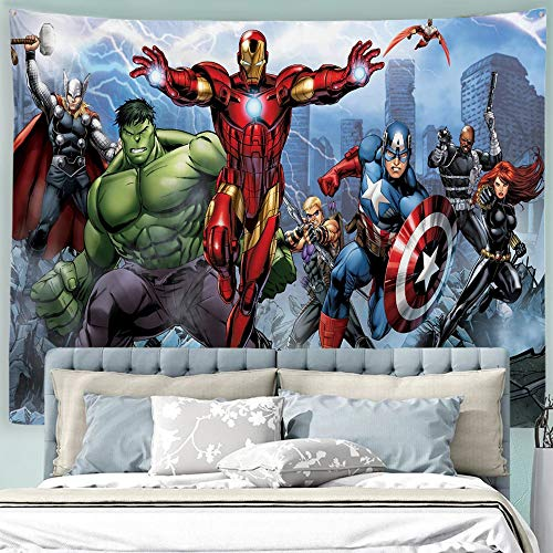 Baccessor Super Hero Tapestry Spider Man, Hulk, Captain America, Black Panther and Iron Man Marvel Fans Favorite American Hero Tapestry for Boy's Bedroom,90