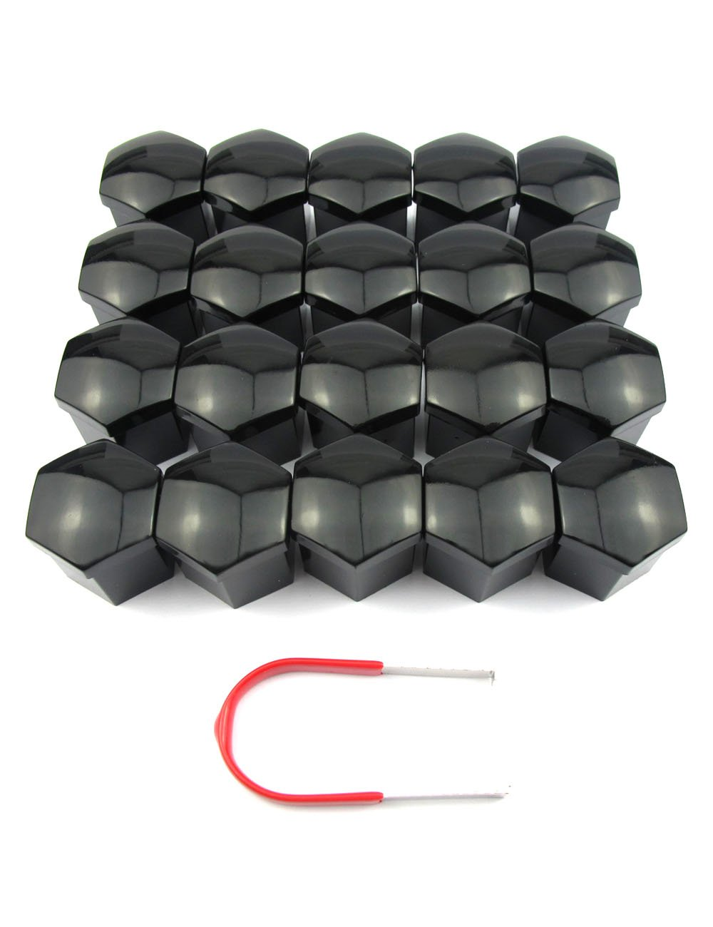 20PCs 21mm Black Plastic Bolts Covers Nut Protector and Removal Tool Car Wheel Universal