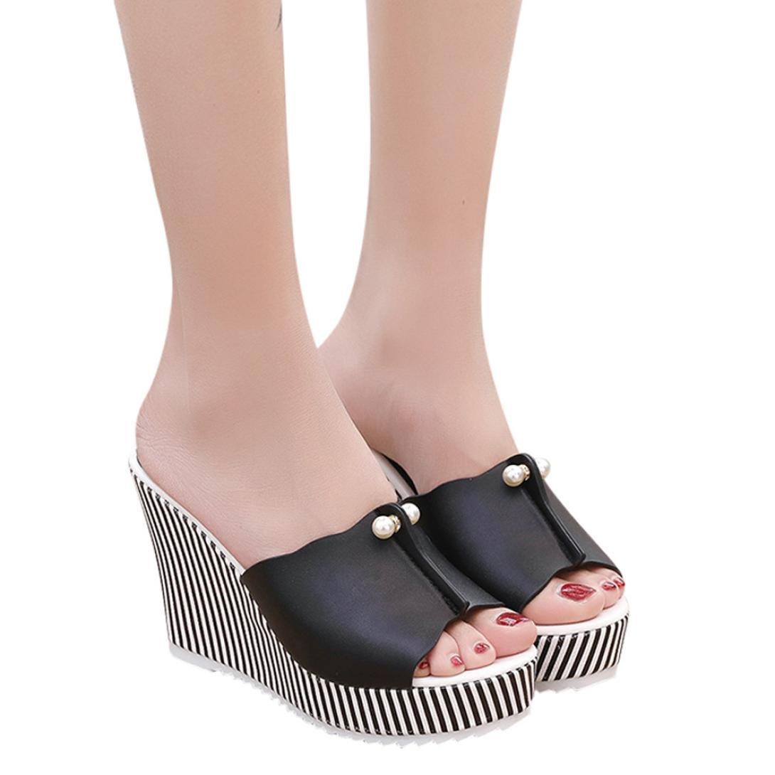 Sunbona Women Summer Slippers Peep Toe High Thick-Bottom Stripe Pearl Waterproof Platform Wedge Sandals (US:5.5(RU/EU/CN35), Black)
