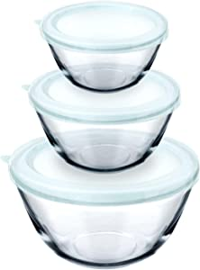 Luvan Glass Mixing Bowl with Lids Set of 3 Salad Bowl Great for Food Storage, Cooking, Baking, Prepping,1.1qt,2.7qt,4.5qt