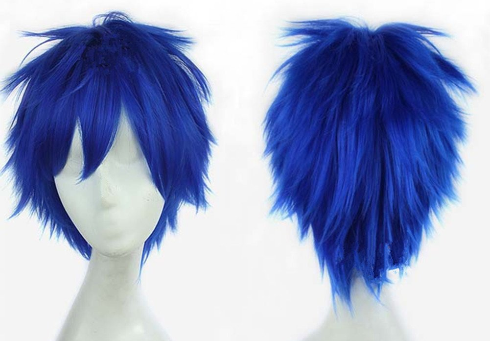 Gods Hand 11.8 Inch Dark Blue Short Straight Anime Cosplay Wigs for Men Girls Halloween Party dark blue