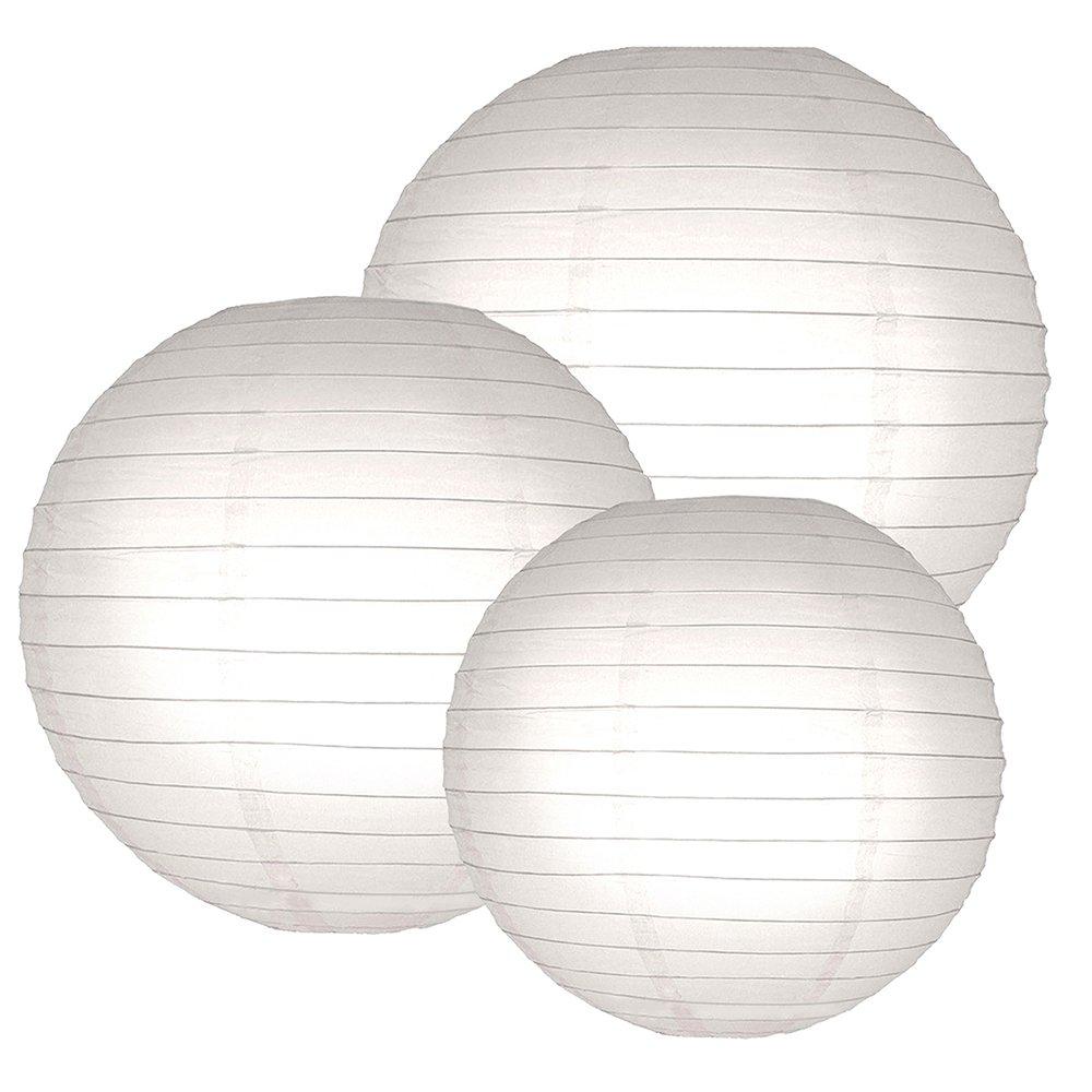 LumaBase 72006 6 Count Multi Size Paper Lanterns, 12''/14''/16'', White
