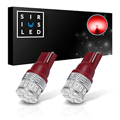 SIRIUSLED Extremely Bright 18W 3014 Chipset SMD LED Bulbs for Car Interior Lights License Plate Dome Map Side Marker Door Courtesy T10 168 192 194 2825 W5W Red: Automotive
