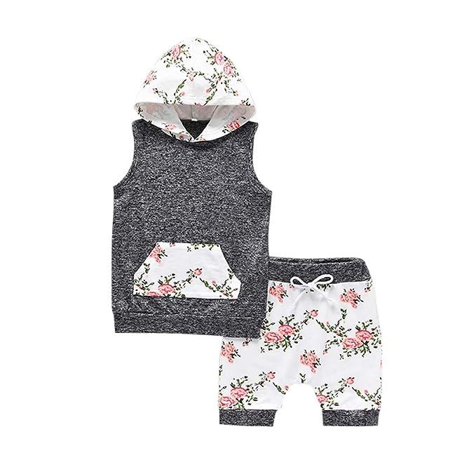 Luckycat Ropa Bebe Niño Verano Sudaderas con Capucha Camiseta sin Mangas y Pantalones Cortos para Recién