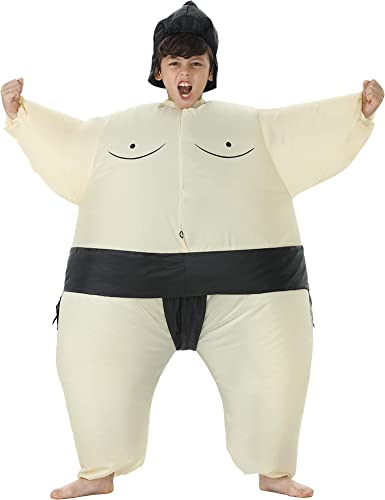 TOLOCO Inflatable Sumo Wrestler Costume Kids Sumo Suits Halloween Blow up Costume, One Size Fits Most