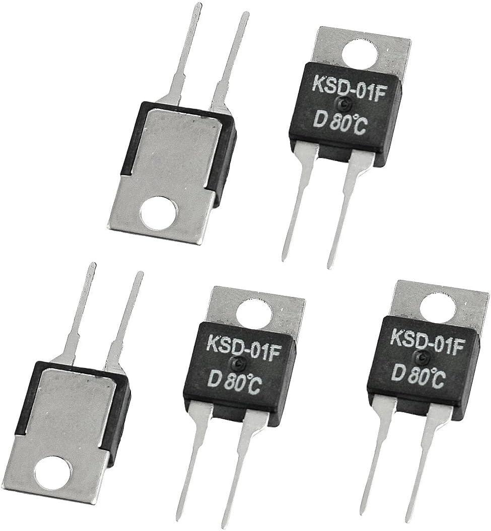 5 x KSD-01F 80 Celsius NC Temperature Switch Thermostat 1.5A 250VAC// 24VDC