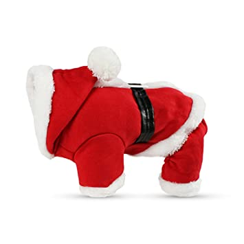 PETCUTE Trajes de Navidad para Mascotas Traje para Perros con Capuchón Camisetas de Santa Claus Gato para Navidad Regalo para Ropa Ropa para Invierno