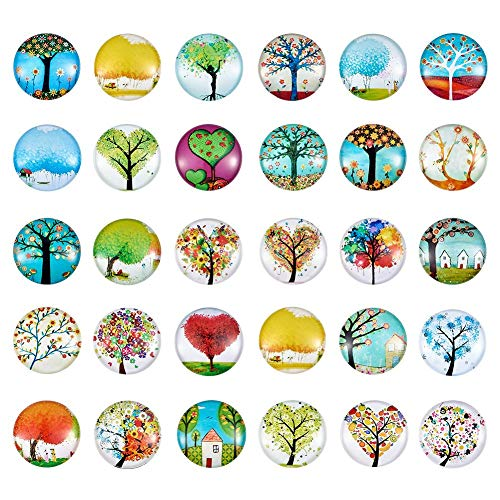1 Inch Dome - Pandahall About 50pcs/Box Tree of Life Printed Half Round Flat Back Glass Cabochons 1 Inch (25mm) for Jewelry Making