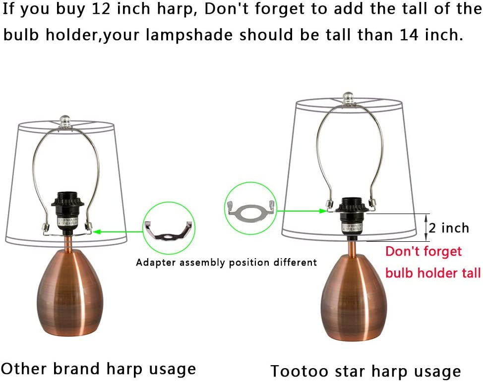36MM 1-7//16 Silver, E26 Adapter,12 inch 12 TooToo Star Lamp Shade Harp Holder and Light Base UNO Fitter Adapter Converter Finial Set,I.D ,Detachable Parts