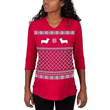 corgi ugly christmas sweater red maternity 34 sleeve t shirt small - Maternity Ugly Christmas Sweater