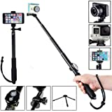 "MyArmor Update Version Alumium Alloy Telescop Selfie Stick (Extra Long 43""/110cm) Folding Self-portrait Extendable Monopod with Phone Mount Clip + Metal Tripod Stand + Bluetooth Shutter Release for Gopro Hero 5, 4, 3, 3+ Series, iPhone 7, 7 Plus, 6/6S, 6+ Plus, Galaxy S7 Edge, S7, RICOH THETA 360 ° / Sony Nikon Canon DSLR Digital Camera / Action Cam SJCAM SJ4000 SJ5000 SJ6000 ect."