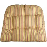 Outdoor Furniture Replacement Cushions - Atwood Micro-Plaid Fiesta Patio Chair Seat Pad - U Shaped, Box Edge, Tufted, Reversible