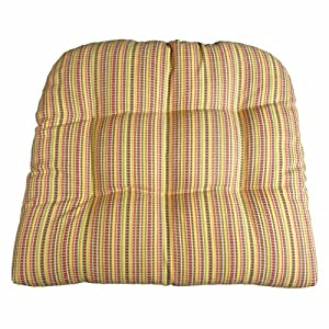 Outdoor Furniture Replacement Cushions   Atwood Micro Plaid Fiesta Patio  Chair Seat Pad   U Shaped, Box Edge, Tufted, Reversible