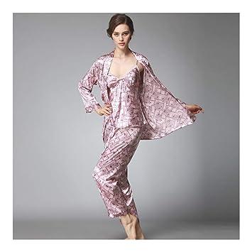 HAOLIEQUAN Pijamas De Las Mujeres De Otoño De Manga Completa Ropa De Dormir Pantalones De Seda