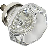 """Knob Deals #1117 - 1-3/8"""" Glass Knob, Clear with Nickel Base - 10 Pack"""