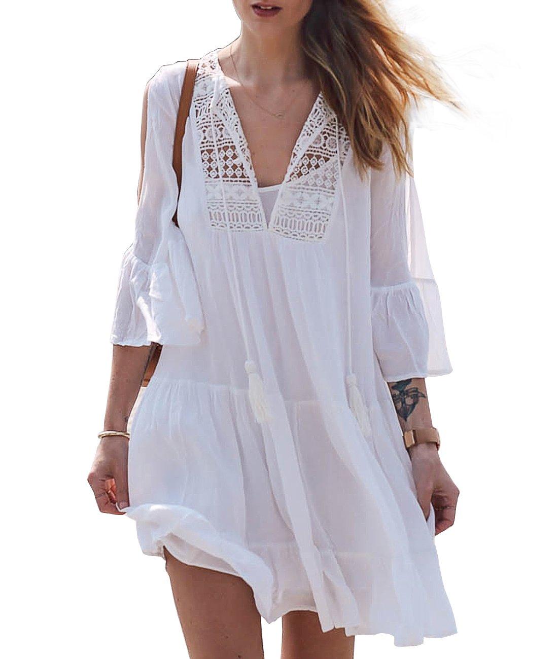 Sanifer Women Summer Beach Cover Up Dresses White Crochet Swimsuit Cover Up Beachwear (White)