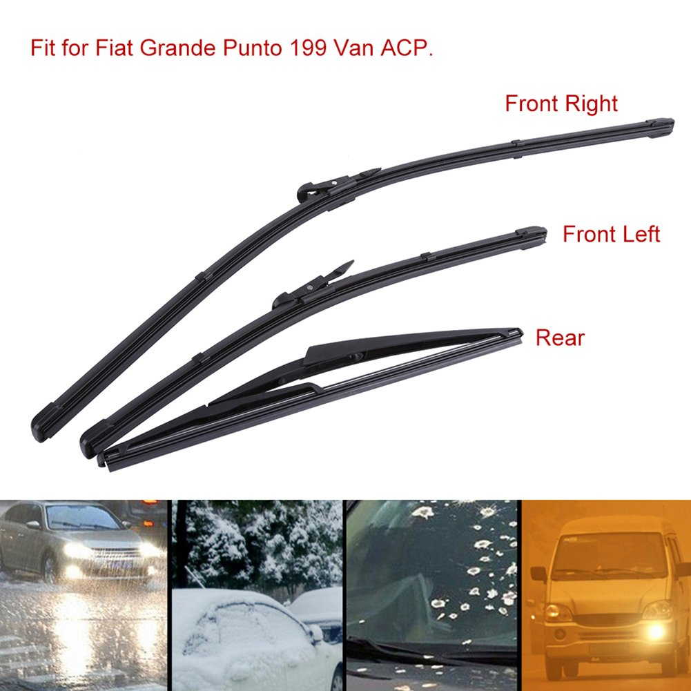 Qiilu 26/16/12 Pulgada Limpiaparabrisas Parabrisas delantero trasero para Fiat Grande Punto 199 Van ACP: Amazon.es: Electrónica