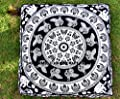 Black & White Elephant Mandala Floor Pillow Indian Tapestry Meditation Cushion Cover Square Ottoman Pouf Cover Outdoor Dog / Cat / Pet Bed 35""