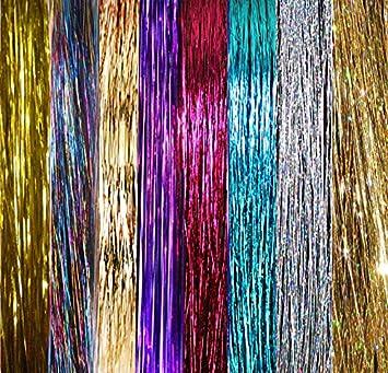 Haar Lametta 500 Strähnen 8 Farben Glitzerndes Silber Lila